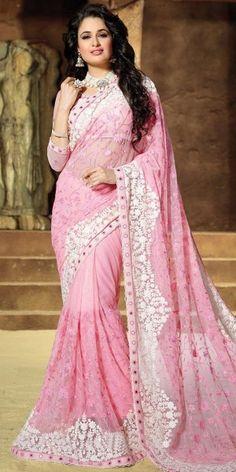 Wonderful Pink Net Saree With Blouse.