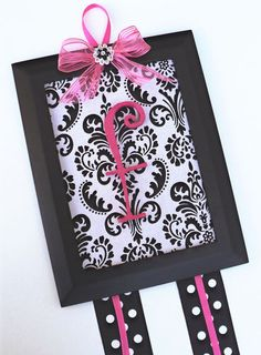 Personalized Initial Hairbow Holder White Damask w/ Black Hot Pink Hair Bow Baby