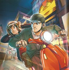 Hiro Hamada and Tadsashi riding on the moped to escape from the bot fighters