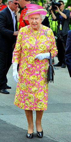 Think Queen Elizabeth's clothes are dated? Think again. Check out Her Majesty rocking the neon trend two years before it hit big. In her hot pink-and-chartreuse floral jacket and perfectly matching chapeau, the Queen made quite the killer statement