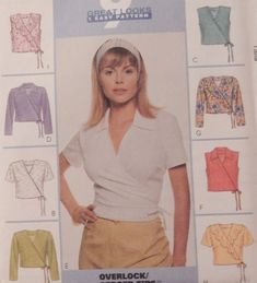 9277 McCall's Wrap Top Shirt Blouse with Tie Waist & variations Size 8 10 12 Shirt Blouses, Shirts, Wrap Blouse, V Neck, Tie, Pattern, Women, Fashion, Moda