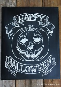 Hand Painted Chalkboard Halloween Sign  16x20 by CHALKBOARDHOUSE, $65.00