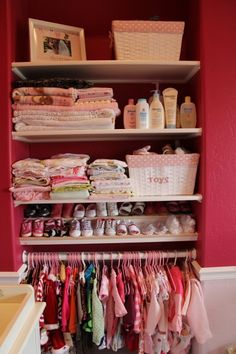 The perfect closet for baby stuff. This closet is very cute, but if I ever have that many shoes or clothes for my infant, someone slap me.