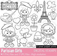 Parisian Girls - Digital stamps - Paris clipart - Line art