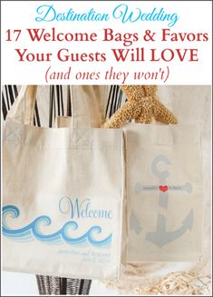 Destination wedding welcome bags items/favors your guests will love...and the items you should skip! Wedding Gift Bags, Wedding Gifts For Guests, Beach Wedding Favors, Wedding Favors For Guests, Unique Wedding Favors, Card Box Wedding, Wedding Souvenir, Nautical Wedding, Handmade Wedding