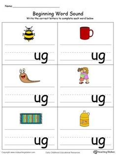 **FREE**Beginning Word Sound: UG Words in Color. Help your child learn to recognize the sounds and letters at the beginning of words with this picture and word match worksheet. English Worksheets For Kindergarten, Kindergarten Learning, Kindergarten Math Worksheets, Phonics Worksheets, Lkg Worksheets, Phonics Chart, Preschool Phonics, Jolly Phonics, Teaching Phonics