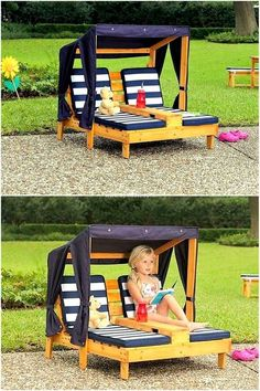 These garden or pool side relaxers are unique DIY pallet wood project. You can build this pair for spending time for your loved one or a safe and relaxing piece of furniture for your kids. The shade will safeguard from any harmful effects of sun rays and you and your children can enjoy the outdoor environment.
