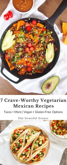 Vegetarian Mexican recipes don't have to be complicated! Here are 7 delicious plant-based recipes inspired by the flavors and ingredients of Mexico! via @gratefulgrazer #client