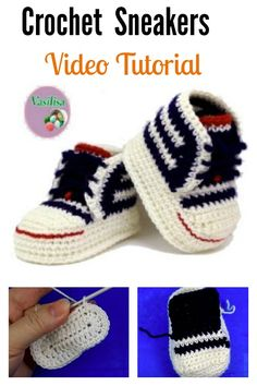 How To Crochet My Easy New Born Baby Converse Style . Ravelry: Baby Converse Pattern By Suzanne Resaul. How To Crochet My Easy Petite Baby Converse Style Slippers . Crochet Baby Mittens, Crochet Baby Blanket Beginner, Booties Crochet, Crochet Baby Clothes, Crochet Baby Shoes, Crochet For Boys, Crochet Slippers, Baby Booties, Baby Knitting