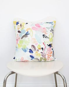 Floral Movement in Orange- Throw Pillow