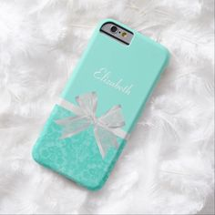 Get dolled up with this cute aqua and turquoise damask pattern slim #iPhone6case with a girly sheer white ribbon tied into a feminine bow made just for the girly girl. This chic and stylish mint blue and white design can be personalized by adding your name to the custom template area. Flat printed image, not actual ribbon.