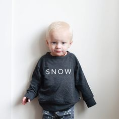Raglan Pullover - 'SNOW' on Charcoal Grey | Limited Edition  See more at www.littleandlively.com
