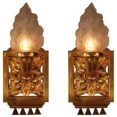 Pair of Doré Bronze French Art Deco Wall Sconces | From a unique collection of antique and modern wall lights and sconces at https://www.1stdibs.com/furniture/lighting/sconces-wall-lights/