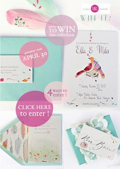 Win this invitation collection from One Handspun Day {ends 4/30/12}