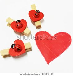 Red Ladybug with Hearted-Shape Clip with a Drawing Heart