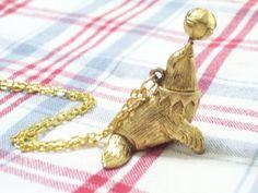Rare Vintage Circus Seal Goldtone Perfume Locket by LoveLockets, $58.00