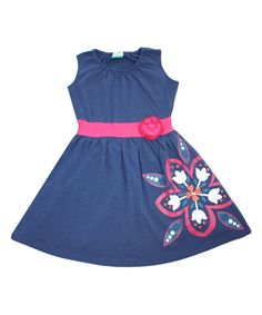 Navy Floral Organic Banded Tank Dress - Infant, Toddler & Girls by Nohi Kids #zulily #zulilyfinds