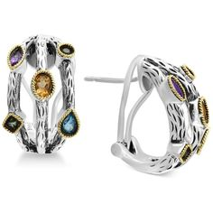 Final Call by Effy Multi-Gemstone Hoop Earrings (2 ct. t.w.) in... ($643) ❤ liked on Polyvore featuring jewelry, earrings, multi, gold earrings, yellow gold earrings, hoop earrings, gemstone earrings and gold jewellery