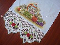 """""""Mania do Crochê"""": Pano de Copa Pintado com Barrado de Crochê.. #inspiration_crochet_diy GB ..."""
