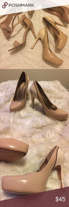 BCBGeneration nude heels 👠 I am selling nude and light beige heels. They have been worn twice. They have a couple of scoffs as shown in picture but in perfect condition. I don't think they are sold anymore because I haven't been able to find them again. After I had my son these heels don't seem to fit anymore so that is why I am selling them. I am open to offers as well. BCBGeneration Shoes Heels