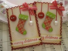 Merry Christmas Stocking Ornament Embellishments Link to page has lots of more items! Homemade Christmas Cards, Christmas Gift Tags, Xmas Cards, All Things Christmas, Handmade Christmas, Homemade Cards, Christmas Stockings, Merry Christmas, Diy Christmas
