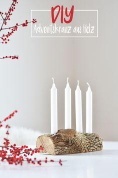 Schlichter, minimalistischer Adventskranz aus Naturholz. Ganz einfach selber machen. Hier das DIY zum Adventskranz aus Holz: https://bonnyundkleid.com/2015/11/schlichter-adventskranz-aus-holz/