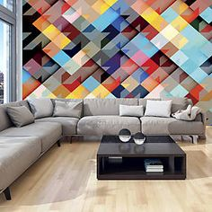 Colour Patchwork x Wallpaper East Urban Home Photo Wallpaper, Wall Wallpaper, Wall Murals, Wall Art Decor, Tube Carton, Buy Wallpaper Online, Textured Wallpaper, House Colors, Wall Tapestry