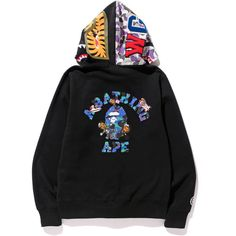 KID CUDI BAPE STORE NYC 10th SHARK FULL ZIP HOODIE ($401) ❤ liked on Polyvore featuring bape, hoodies, sweaters and tops