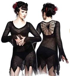 Queen Of Darkness - Black Knit Dress with Web Pattern