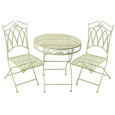 My Botanical Garden Wrought Iron Garden Table & 2 Chairs Furniture Sets For Sale, Patio Furniture Sets, Garden Table, Garden Chairs, Wrought Iron Patio Chairs, Outdoor Tables, Outdoor Decor, Outdoor Garden Furniture, Bistro Set