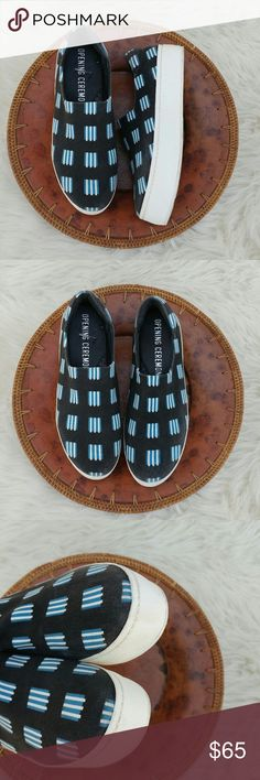 "Opening Ceremony CiCi printed platform sneaker Stretch canvas slip on sneaker by Opening Ceremony Size 39 that does run a bit snug Foot bed measures 10""  Black/blue/white Some light discoloration on black but no rips or snags one minor scuff on back logo but not visible when worn, shown on 4th picture Opening Ceremony Shoes Sneakers"
