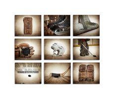 Your Boys bedroom or man cave will be complete with these photographic art prints of vintage hockey prints, Title: Set of 9 Hockey Prints on photo paper Size: Select from drop down menu This Set includes these 9 photos on kodak endura lustre paper 1.Vintage Leather Hockey Blocker 2.Vintage Hockey Boys Hockey Room, Hockey Nursery, Hockey Bedroom, Hockey Baby, Soccer, Vintage Sports Nursery, Hockey Decor, Hockey Crafts, Man Cave Art