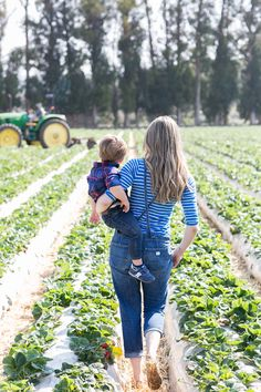 Picking strawberries, but not getting very many because you are too busy with your babies.