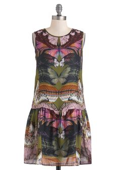 From Day to Flight Dress - Mid-length, Multi, Green, Pink, Multi, Print with Animals, Casual, Drop Waist, Sleeveless, Fall