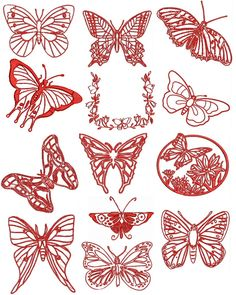 Details about Redwork Butterfly Machine Embroidery Designs & Free FONT . Types Of Embroidery, Learn Embroidery, Free Machine Embroidery Designs, Embroidery For Beginners, Embroidery Techniques, Embroidery Applique, Cross Stitch Embroidery, Butterfly Embroidery, Embroidery Ideas
