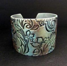 Silver Cuff Bracelet Polymer Clay Wide Cuff Hand Stamped Bracelet Art Jewelry Flowers