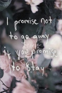 I promise to stay