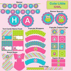 Owl Party Package Birthday Instant Download  by LetsPartyShoppe, $6.00