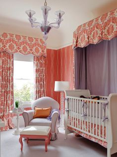 elegant girl nursery.  coral, lilac, and white