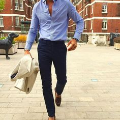 city combo linen double breasted x light blue shirt x navy pants