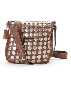 Look what I found on #zulily! Brown Round Stud Leather Crossbody Bag by I Love Accessories #zulilyfinds