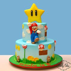 Mario Bros Y Luigi, Mario Bros Cake, Mario Kart, Bolo Do Mario, Bolo Super Mario, Super Mario Bros, Mario Birthday Cake, Super Mario Birthday, Super Mario Party