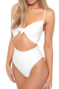 448ac6ffd8ec9 Haloon Womens Spaghetti Strap Tie Knot Front Cutout High Waist One Piece  Swimsuit at Amazon Women s