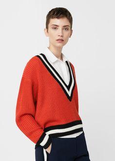 V-neckline sweater   MANGO