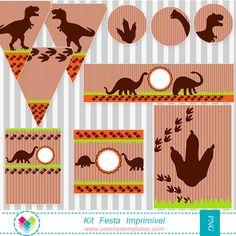 Kit festa Dinossauros by Tonbo Nuske Dinosaur Birthday Party, Baby Birthday, Birthday Parties, Festa Jurassic Park, The Good Dinosaur, Minnie, Party Themes, Cards, Lucca