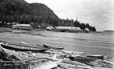 Kasaan Cannery with wooden boats in foreground, Kasaan, Alaska, June Haida Art, La Rive, Wooden Boats, Present Day, Alaska, June, Digital, Animals, Beautiful