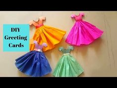 DIY Easy Handmade Greeting Card Making Idea/ Cute Dress Birthday Greeting Card By Aloha Crafts Hand Made Greeting Cards, Making Greeting Cards, Holiday Greeting Cards, Birthday Greeting Cards, Greeting Cards Handmade, 3d Christmas, Christmas Crafts For Gifts, How To Make Greetings, Origami Dress