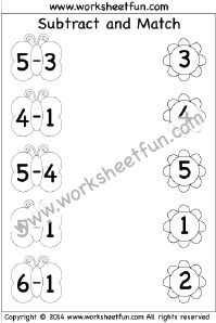 Kindergarten Subtraction Worksheets – Subtract and Match –  3 Worksheets