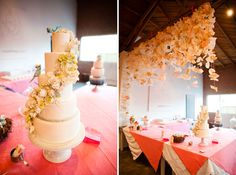 hanging coffee filters?? Whatever it is, it looks cute. Plus I like that cake