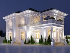 Super neoclassical architecture in a beautiful villa in Binh Duong Classic House Exterior, Classic House Design, Dream House Exterior, Modern House Design, Dream Home Design, Modern Houses, House Outside Design, House Front Design, Village House Design